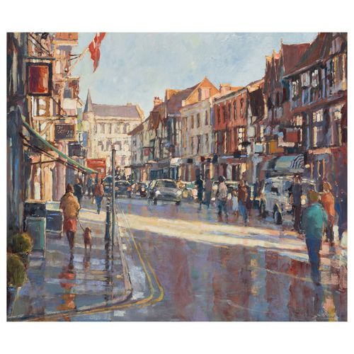 Winter Sun, Early Shoppers - Image size 50x60cm - Framed price £3,250.00