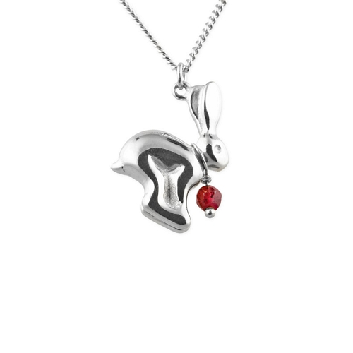 Hare Pendant with Garnet