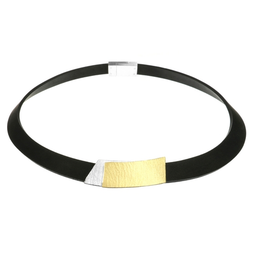Necklace, Silver+Gold Rectangles+Black Band
