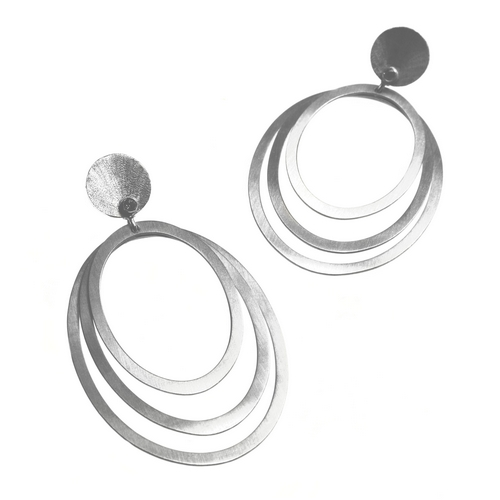 Multi Loop Silver Drop Earrings