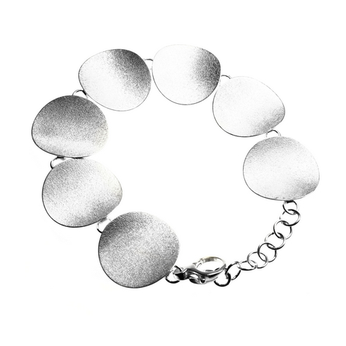 Brushed and Hammered Finish Multople Silver Disc Bracelet