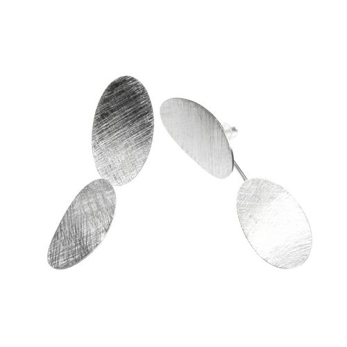 Double Disc Silver Drop Earrings with Scratched Finish