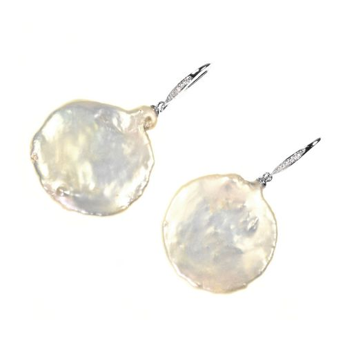 Earrings Large Coin Pearl