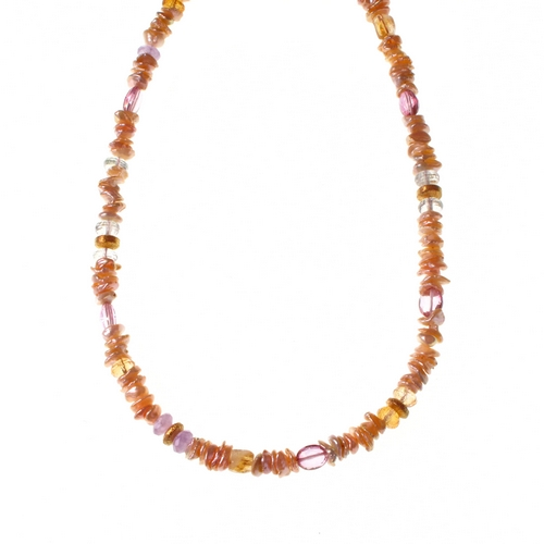 Necklace Pink Keshi Pearl + Topas