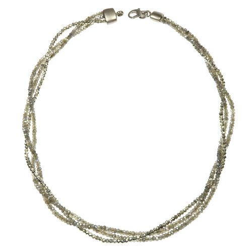 Necklace - 3mm,Labradorite,Pyrite SilverPlated.