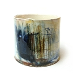 Thrown Vessel with Blue/Yellow