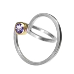 Spun Curl Ring with Lavendar Sapphire