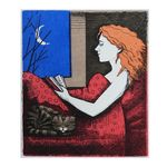Reading with Cat Etching with Woodcut