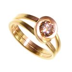 Gold Twist Ring with Cognac Diamond