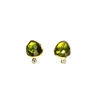 Earrings with Peridot and Diamonds