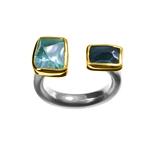 Ring Aquamarine, Blue Topaz