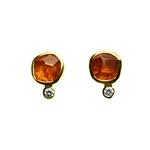 Earrings, 2ct Garnet,  0.04ct Diamond