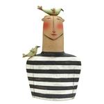 B/W Striped Man with Green Birds