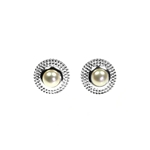 Silver and Pearl Bubble stud