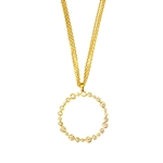 Multi Strand Silver and Gold Plated Pendant with Cubic Zirconias
