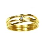 4 Band Ring Brushed Finish with Diamond
