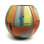 Large Round Pot, Lime, Peach, Turquoise